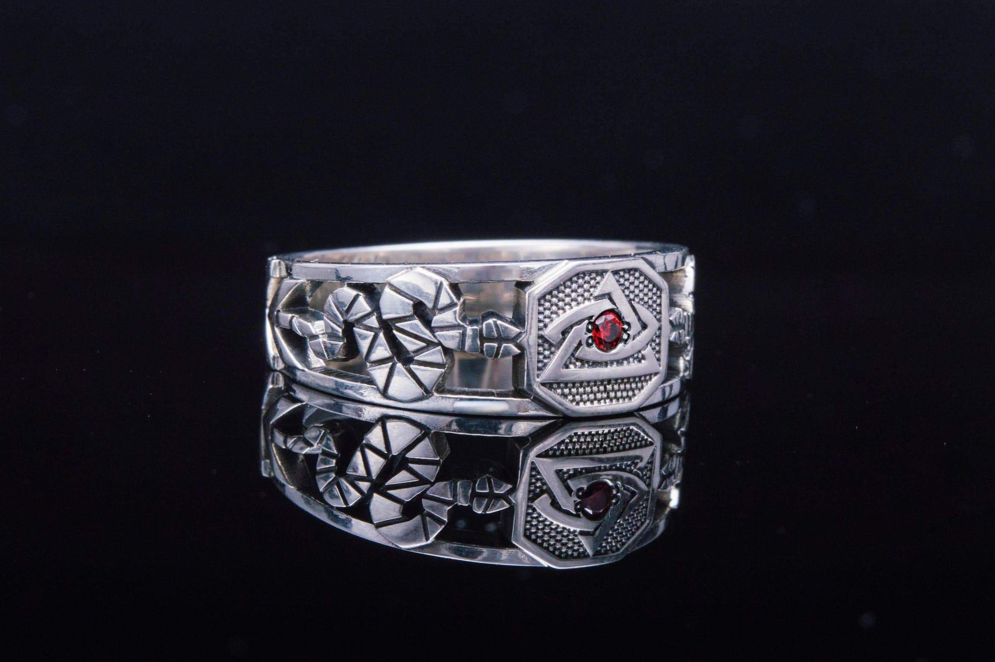 Rings Freemason Eye of Providence Geometric Ring with Red Cubic Zirconia Ancient Treasures Ancientreasures Viking Odin Thor Mjolnir Celtic Ancient Egypt Norse Norse Mythology