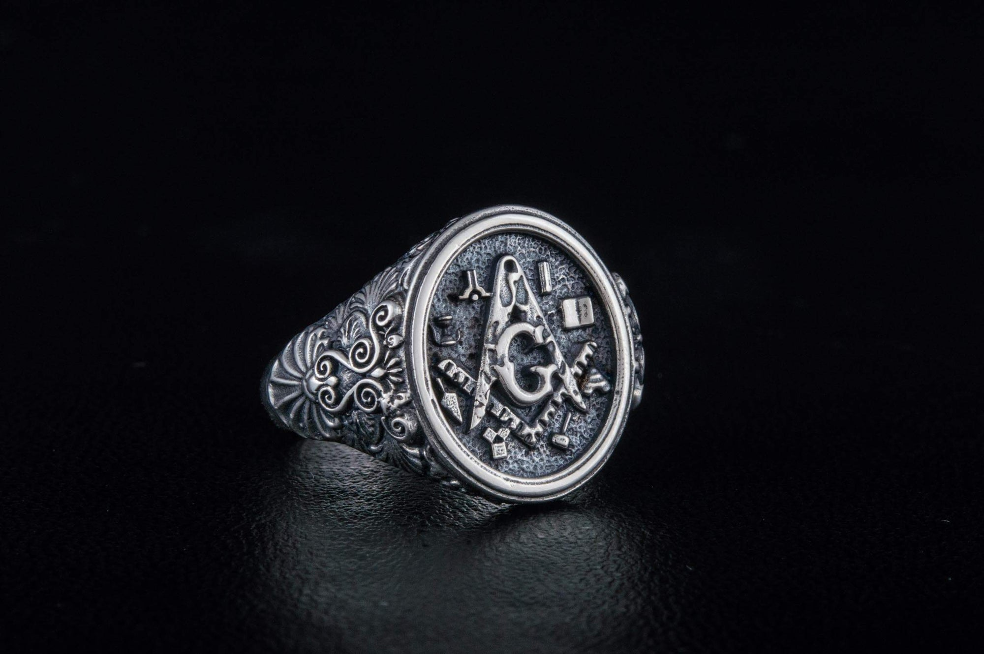 Rings Freemason Square & Compass with Masonic Symbols Sterling Silver Ring Ancient Treasures Ancientreasures Viking Odin Thor Mjolnir Celtic Ancient Egypt Norse Norse Mythology
