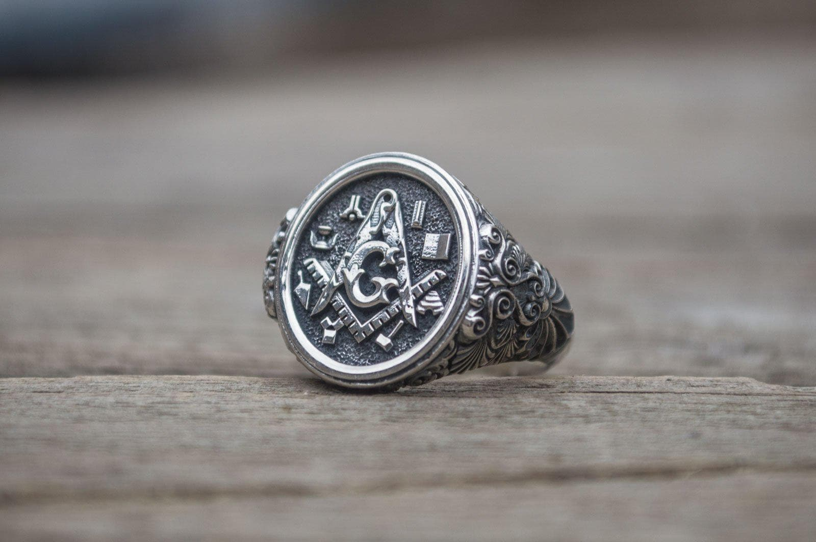 Rings Freemason Sterling Silver Handcrafted Ring with Masonic Symbols Ancient Treasures Ancientreasures Viking Odin Thor Mjolnir Celtic Ancient Egypt Norse Norse Mythology
