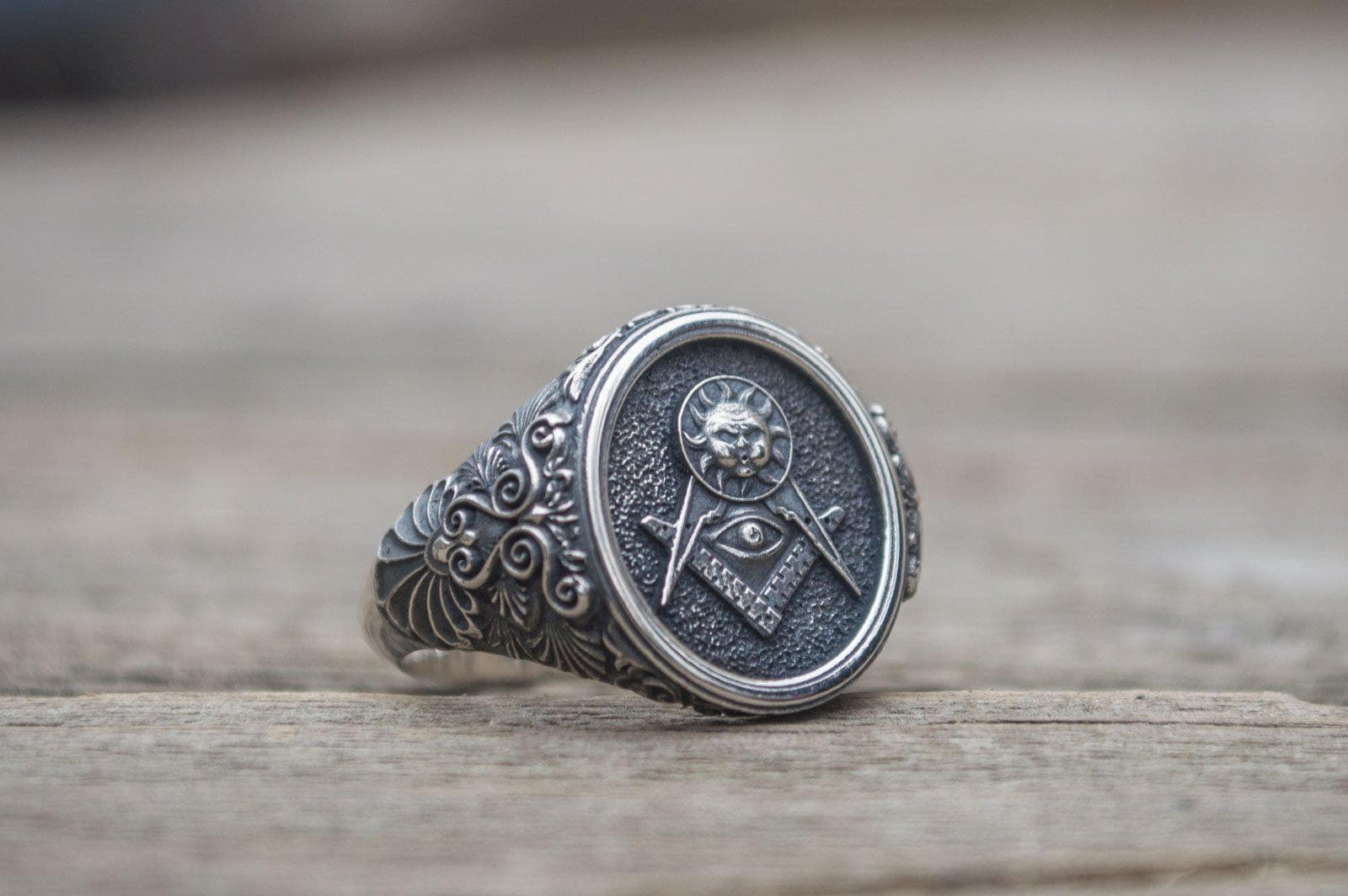 Masonic Compass All Seeing Eye with Sun Sterling Silver Ring