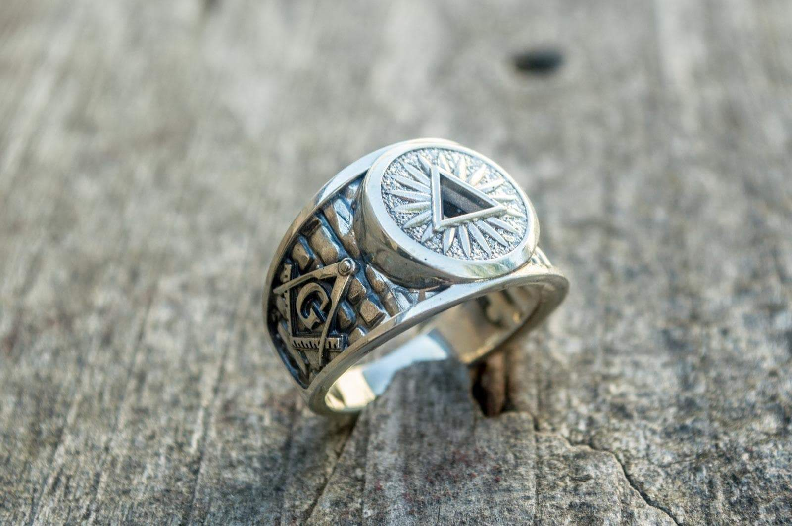 Rings Masonic Hallow Eye of Providence Sterling Silver Handcrafted Ring Ancient Treasures Ancientreasures Viking Odin Thor Mjolnir Celtic Ancient Egypt Norse Norse Mythology