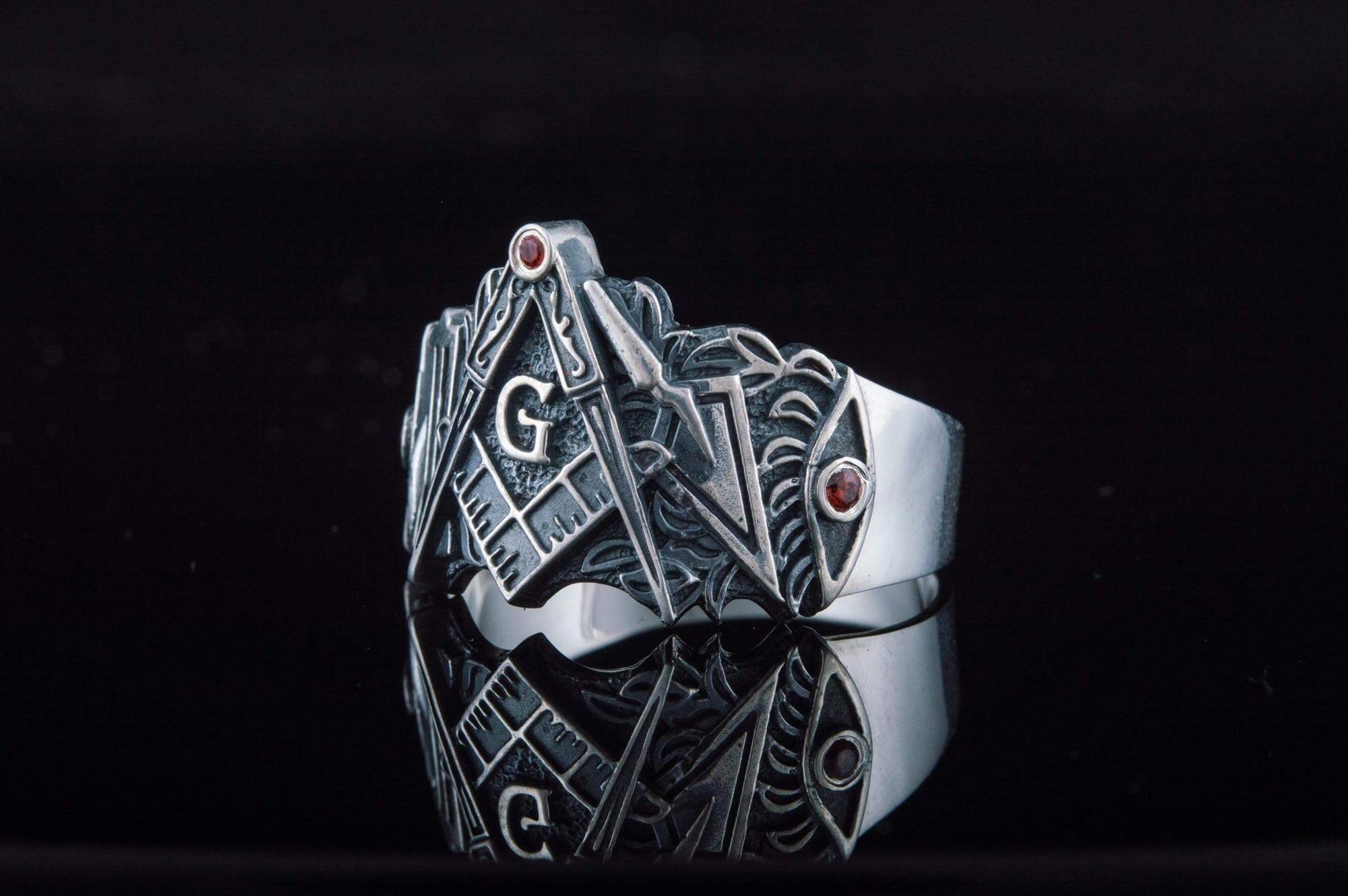 Rings Masonic Square Compass & Symbols with Red Cubic Zirconia Unique Ring Ancient Treasures Ancientreasures Viking Odin Thor Mjolnir Celtic Ancient Egypt Norse Norse Mythology