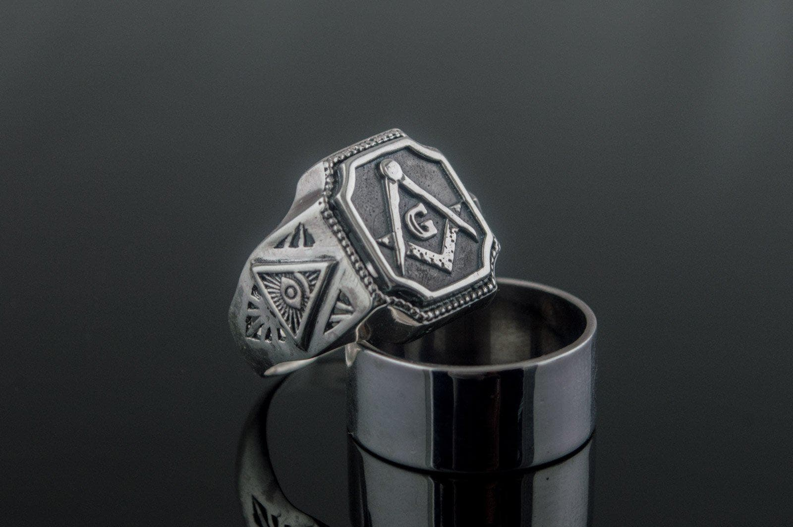 Rings Masonic Square Compass with Eye of Providence Sterling Silver Ring Ancient Treasures Ancientreasures Viking Odin Thor Mjolnir Celtic Ancient Egypt Norse Norse Mythology