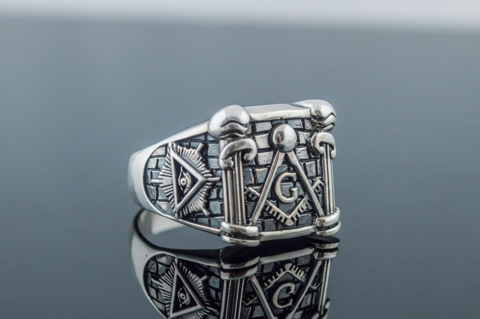 Rings Masonic Square Sterling Silver Ring with Pillars & Eye of Providence Ancient Treasures Ancientreasures Viking Odin Thor Mjolnir Celtic Ancient Egypt Norse Norse Mythology