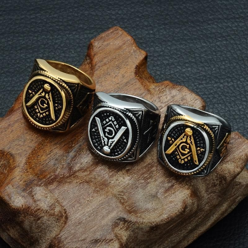 Rings Men's Oval Freemason Free Mason Silver color Gold color Templar Masonic Ring Men's Jewelry|Rings| Ancient Treasures Ancientreasures Viking Odin Thor Mjolnir Celtic Ancient Egypt Norse Norse Mythology