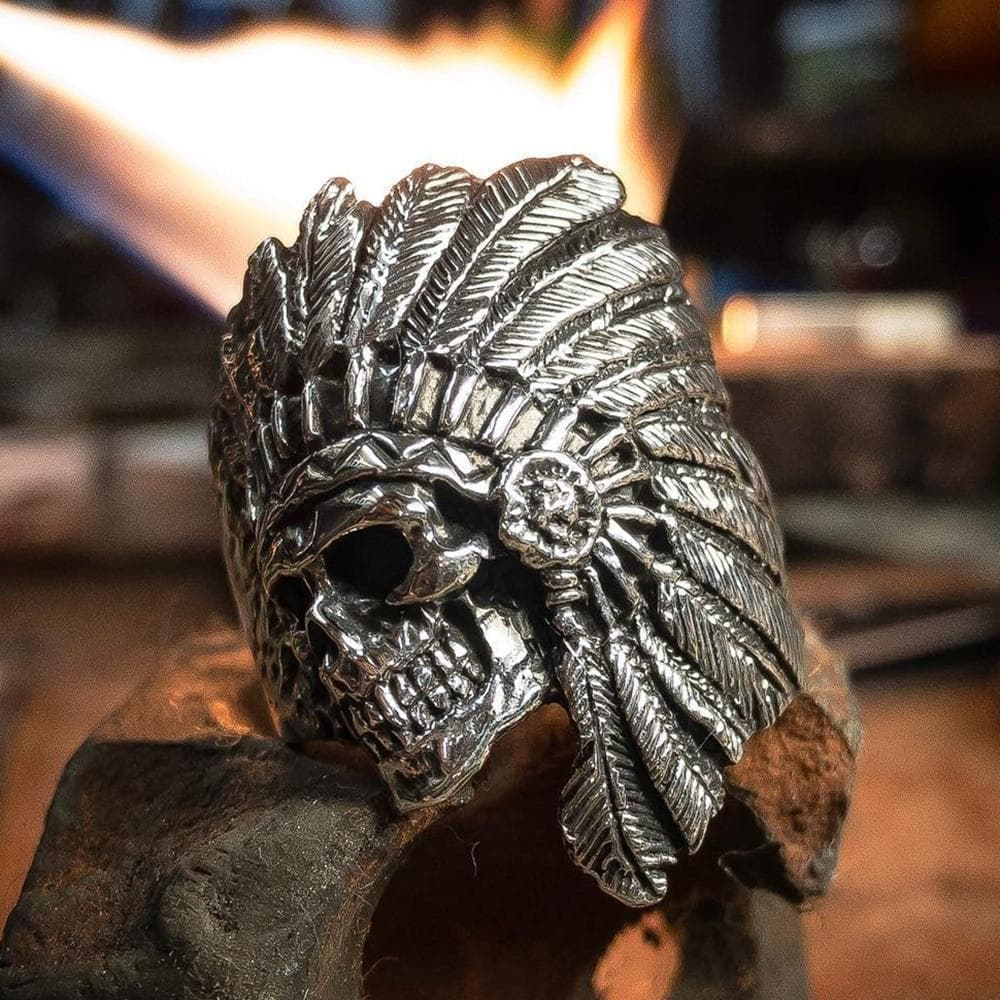 Rings Native American Chief Tribe Warrior Skull Stainless Steel Ring Ancient Treasures Ancientreasures Viking Odin Thor Mjolnir Celtic Ancient Egypt Norse Norse Mythology