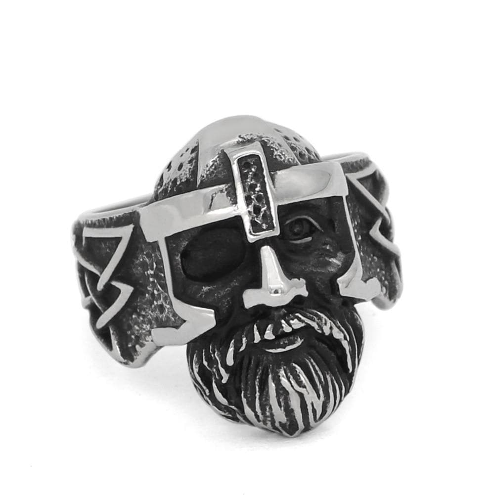 Rings Nordic Viking amulet odin face Worrior Amulet Stainless Steel Ring with Valknut Rune Gift Bag Ancient Treasures Ancientreasures Viking Odin Thor Mjolnir Celtic Ancient Egypt Norse Norse Mythology