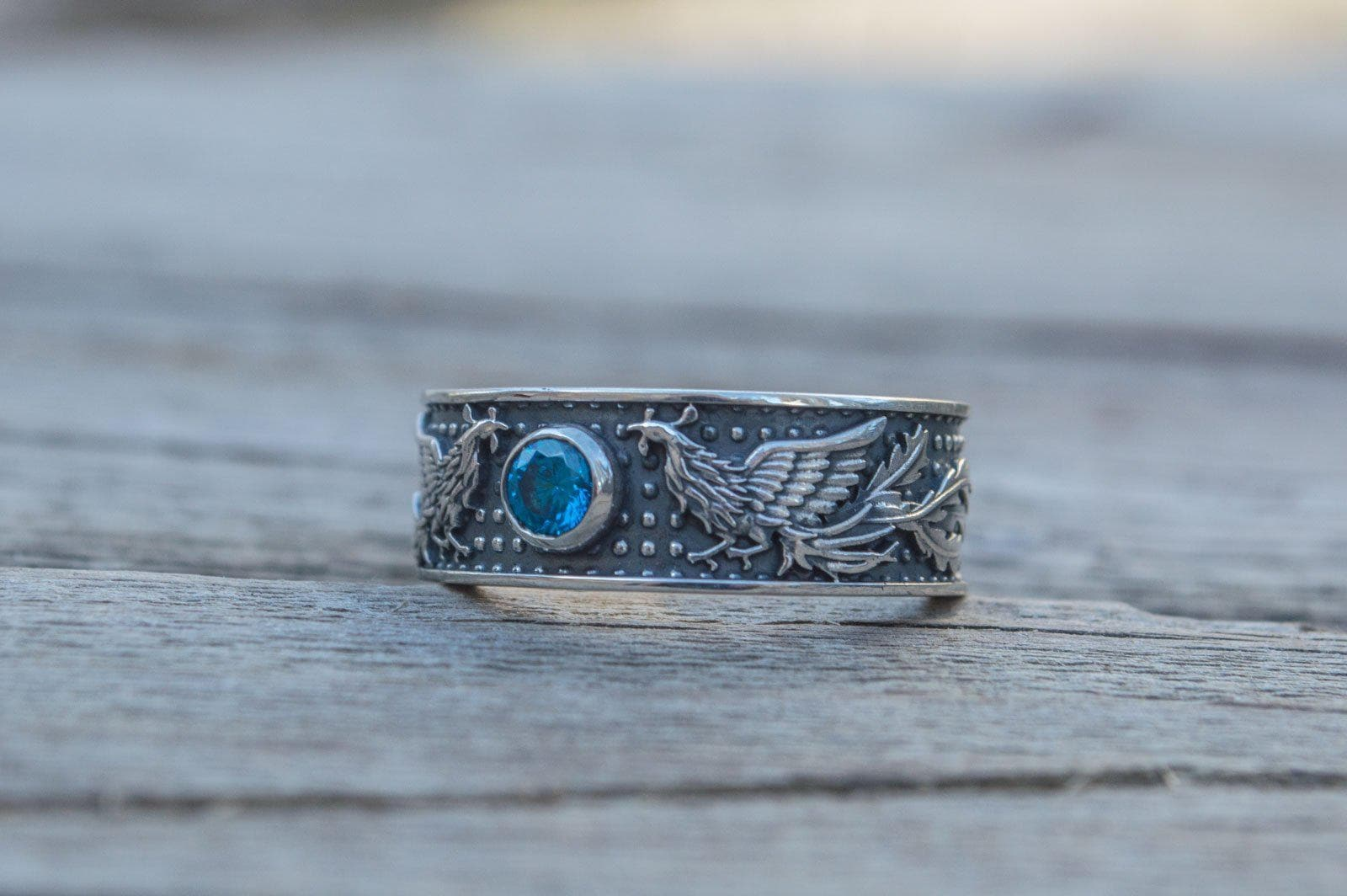 Rings Phoenix Firebird Sterling Silver Ring with Blue Cubic Zirconia Ancient Treasures Ancientreasures Viking Odin Thor Mjolnir Celtic Ancient Egypt Norse Norse Mythology