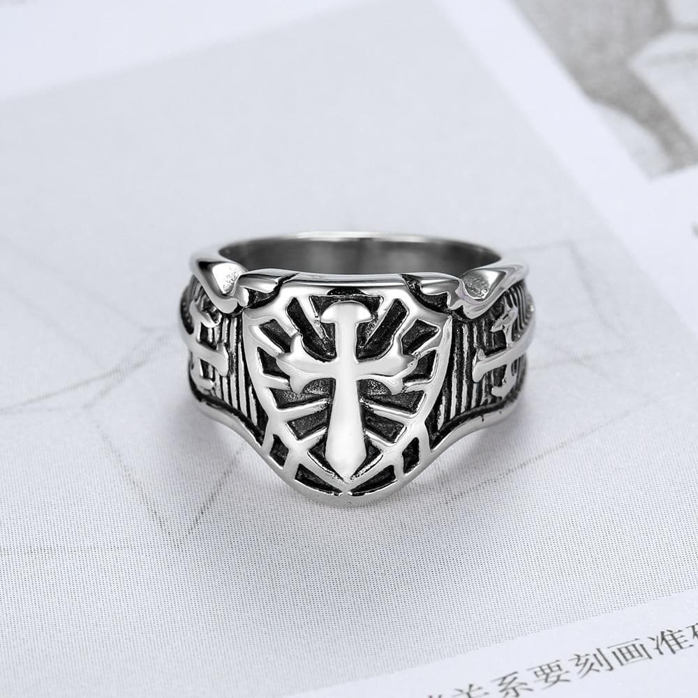 Rings Punk 316L Stainless Steel Armor Shield Ring Knight Templar Crusade Cross Sword Christian Jewelry Medieval Signet Mens Rings|Rings| Ancient Treasures Ancientreasures Viking Odin Thor Mjolnir Celtic Ancient Egypt Norse Norse Mythology