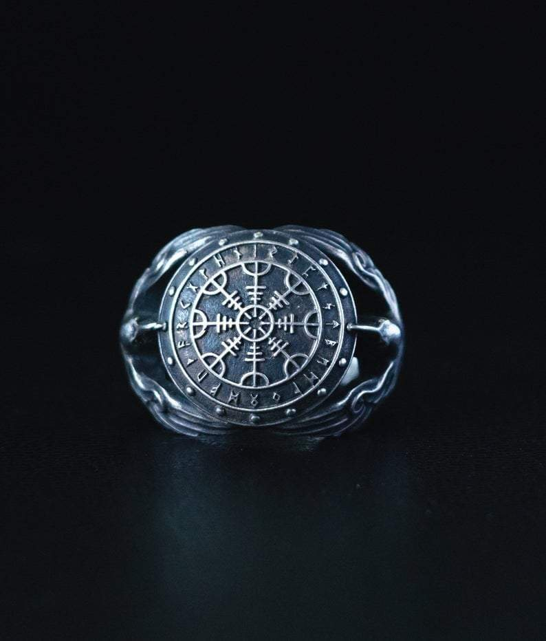 Rings Silver / Kraft Box / 6 US Vikings Helm of Awe in Rune Circle with Ravens Silver Ring Ancient Treasures Ancientreasures Viking Odin Thor Mjolnir Celtic Ancient Egypt Norse Norse Mythology