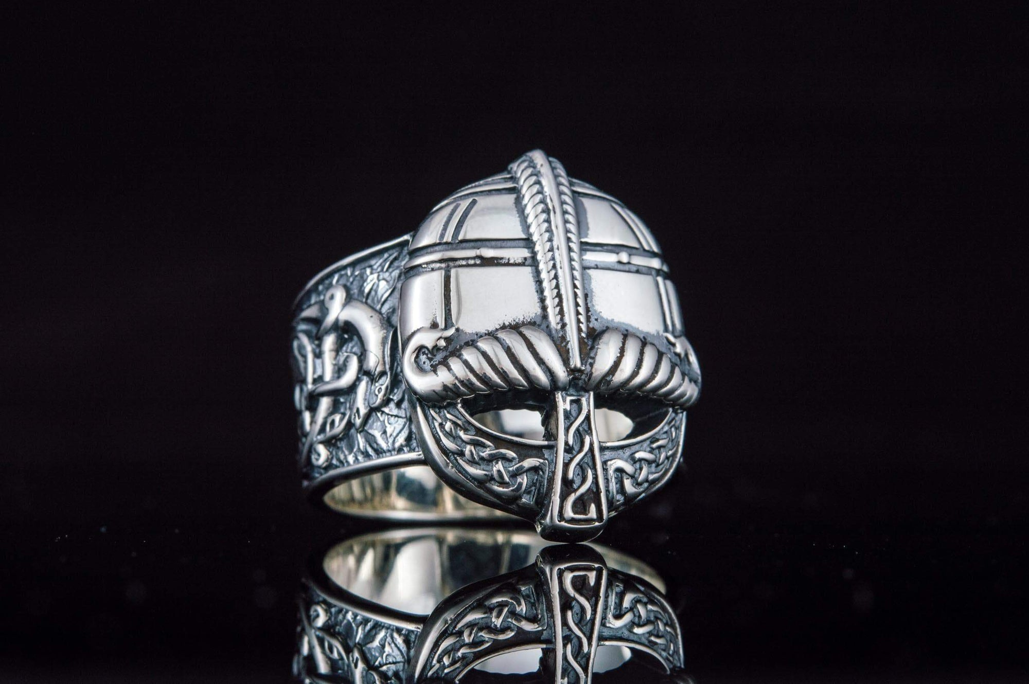 Viking Helmet with Knotwork & Ornaments Unique Handcrafted Ring