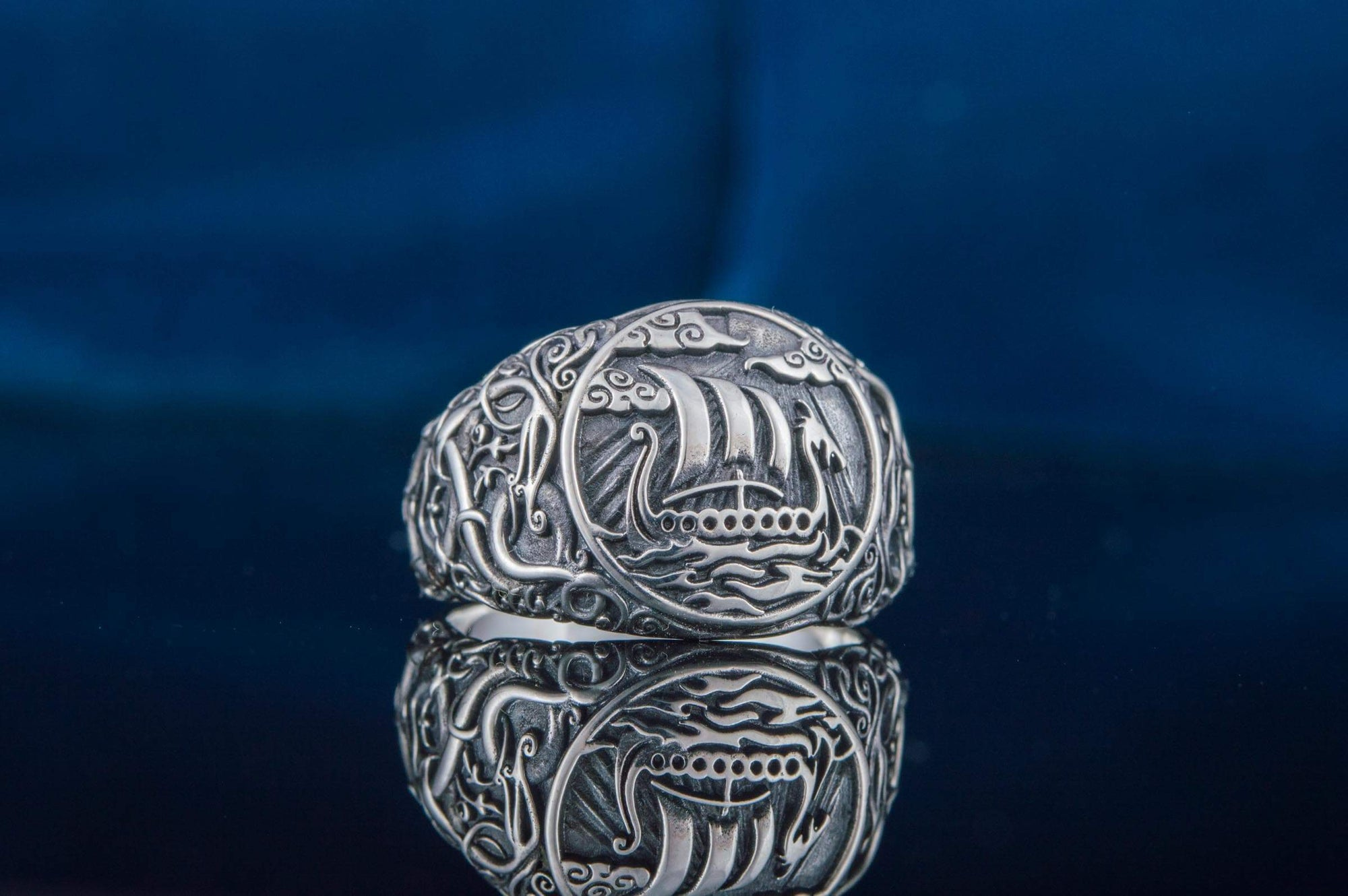 Sterling Silver Ring with Drakkar and Urnes Symbol