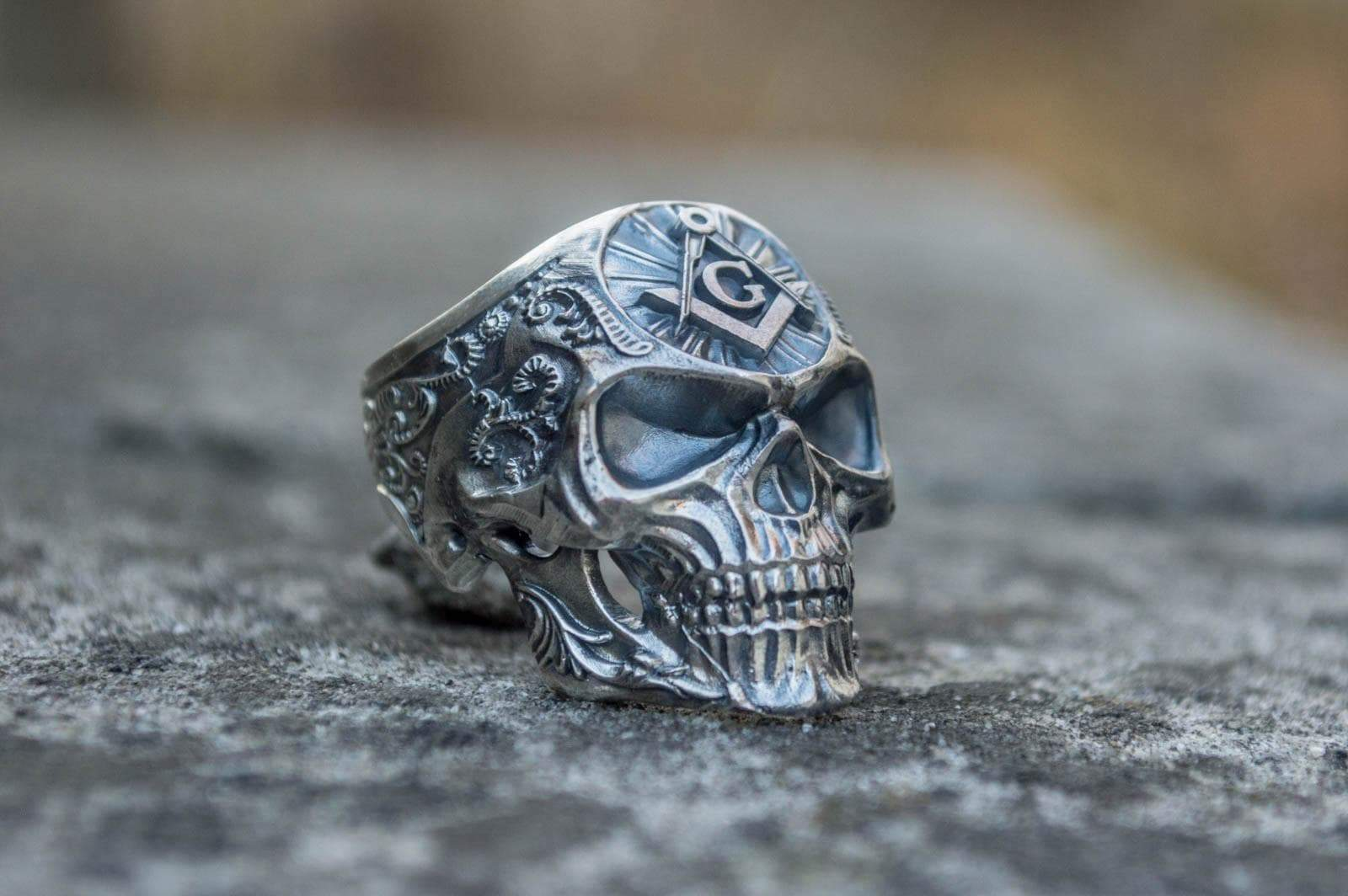 Rings Sterling Silver / US 5 Freemason Skull Sterling Silver Ring with Square & Compass Symbol Ancient Treasures Ancientreasures Viking Odin Thor Mjolnir Celtic Ancient Egypt Norse Norse Mythology