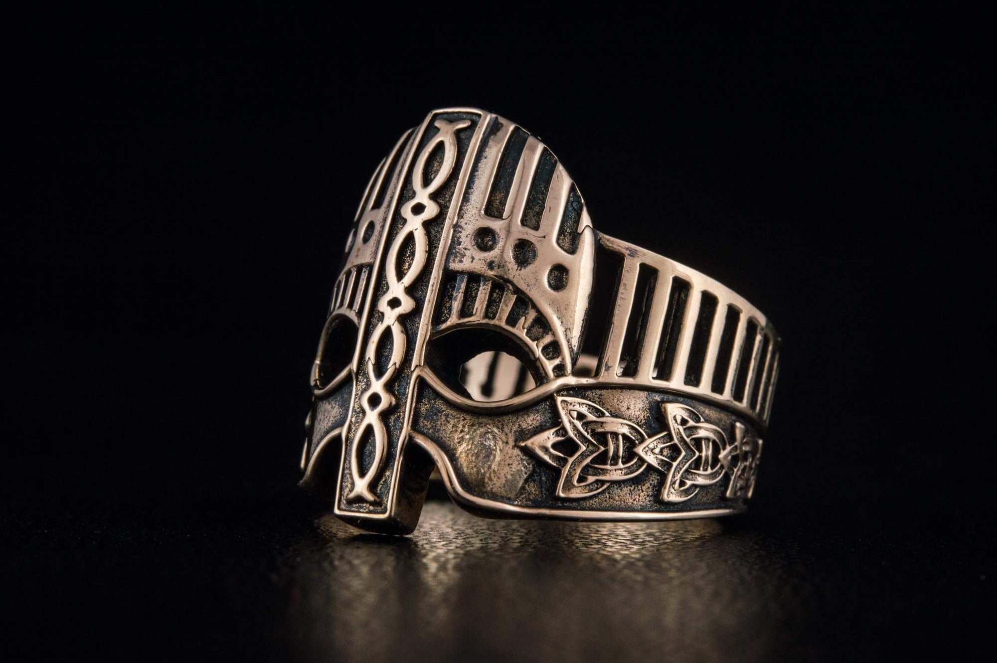 Viking Helmet with Knotwork & Norse Ornaments Ring