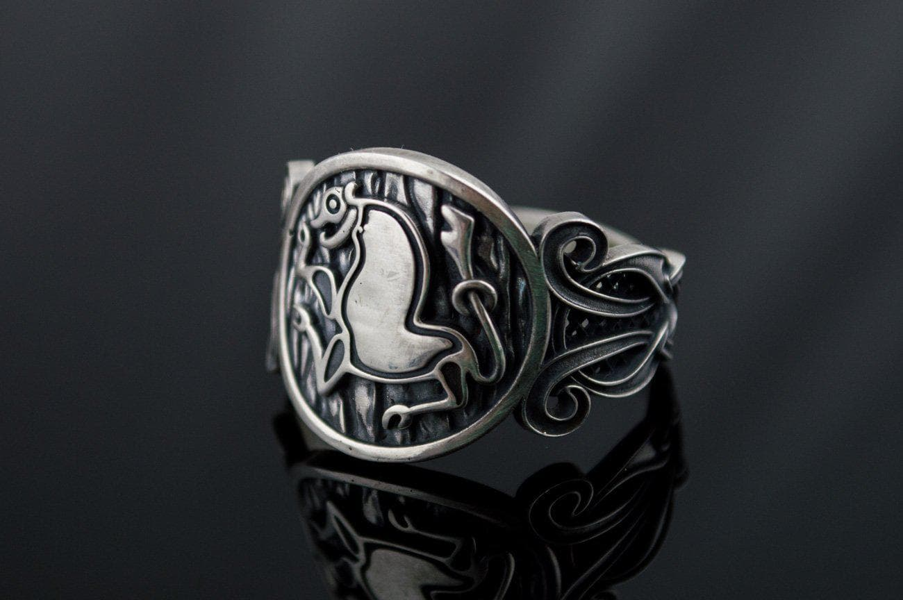 Viking Norse Animal Sterling Silver Ring with Knotted Ornament