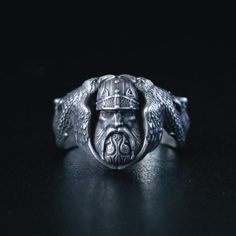 Rings Viking Norse God Odin with Ravens & Wolves Silver Ring Ancient Treasures Ancientreasures Viking Odin Thor Mjolnir Celtic Ancient Egypt Norse Norse Mythology