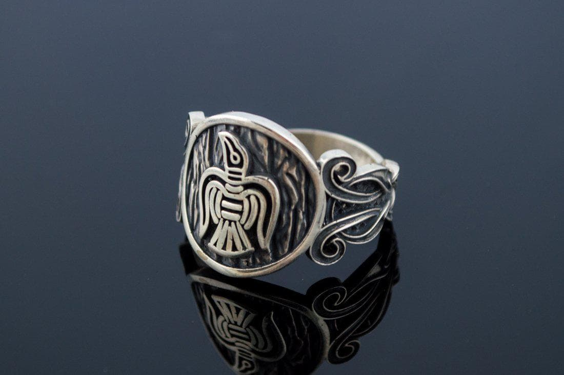 Viking Norse Raven Sterling Silver Ring with Knotted Ornament