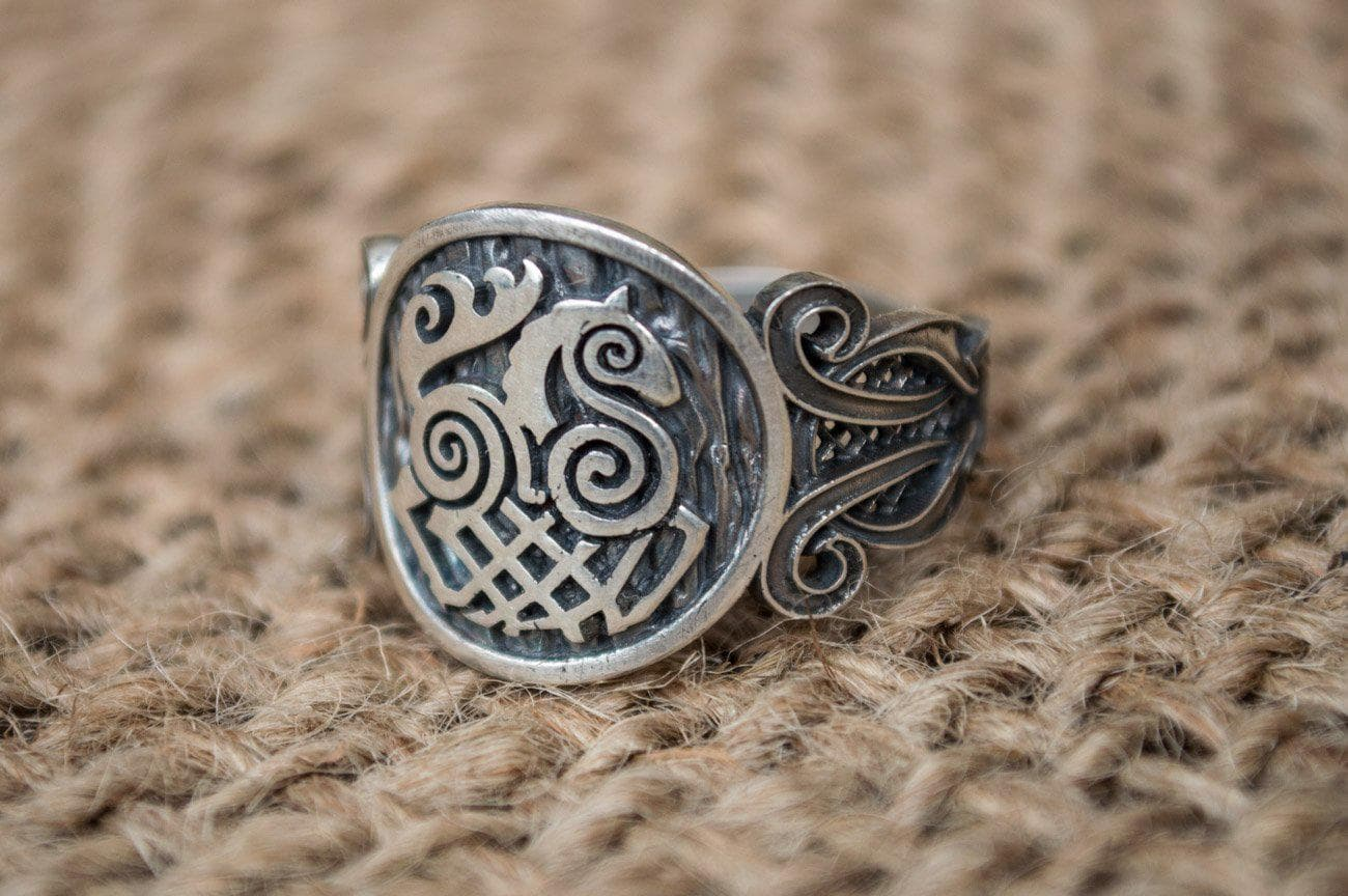 Viking Norse Sleipnir Sterling Silver Ring with Knotted Ornaments