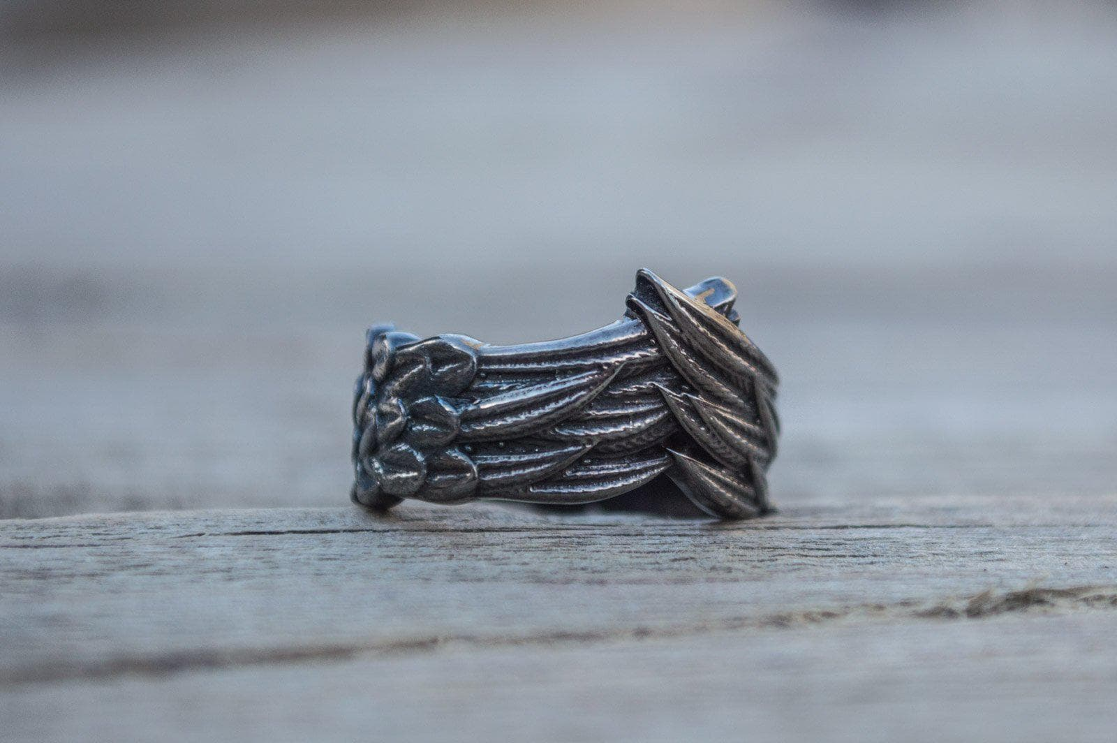 Viking Raven Feather Sterling Silver Ruthenium Plated Handmade Ring