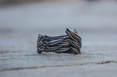 Rings Viking Raven Feather Sterling Silver Ruthenium Plated Handmade Ring Ancient Treasures Ancientreasures Viking Odin Thor Mjolnir Celtic Ancient Egypt Norse Norse Mythology