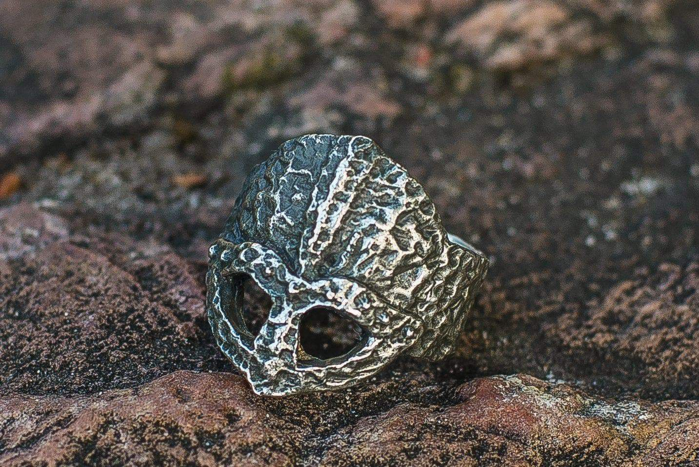 Viking Ruined Helmet Unique Textured Ring