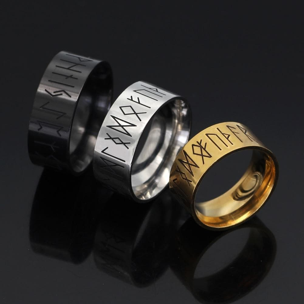 Rings Viking Runes Stainless Steel Ring Ancient Treasures Ancientreasures Viking Odin Thor Mjolnir Celtic Ancient Egypt Norse Norse Mythology