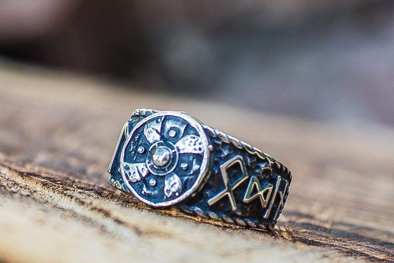 Viking Shield with HAIL ODIN Runes Handcrafted Sterling Silver Ring