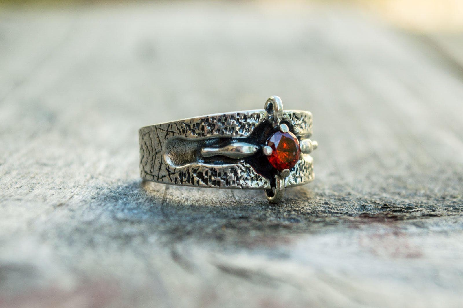 Viking Textured Sterling Silver Ring with Red Cubic Zirconia