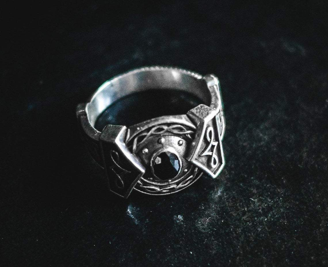 Rings Viking Thor's Hammer Sterling Silver Ring with Black Obsidian Ancient Treasures Ancientreasures Viking Odin Thor Mjolnir Celtic Ancient Egypt Norse Norse Mythology