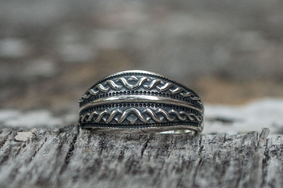Viking Unique Twisted Ornament Sterling Silver Ring