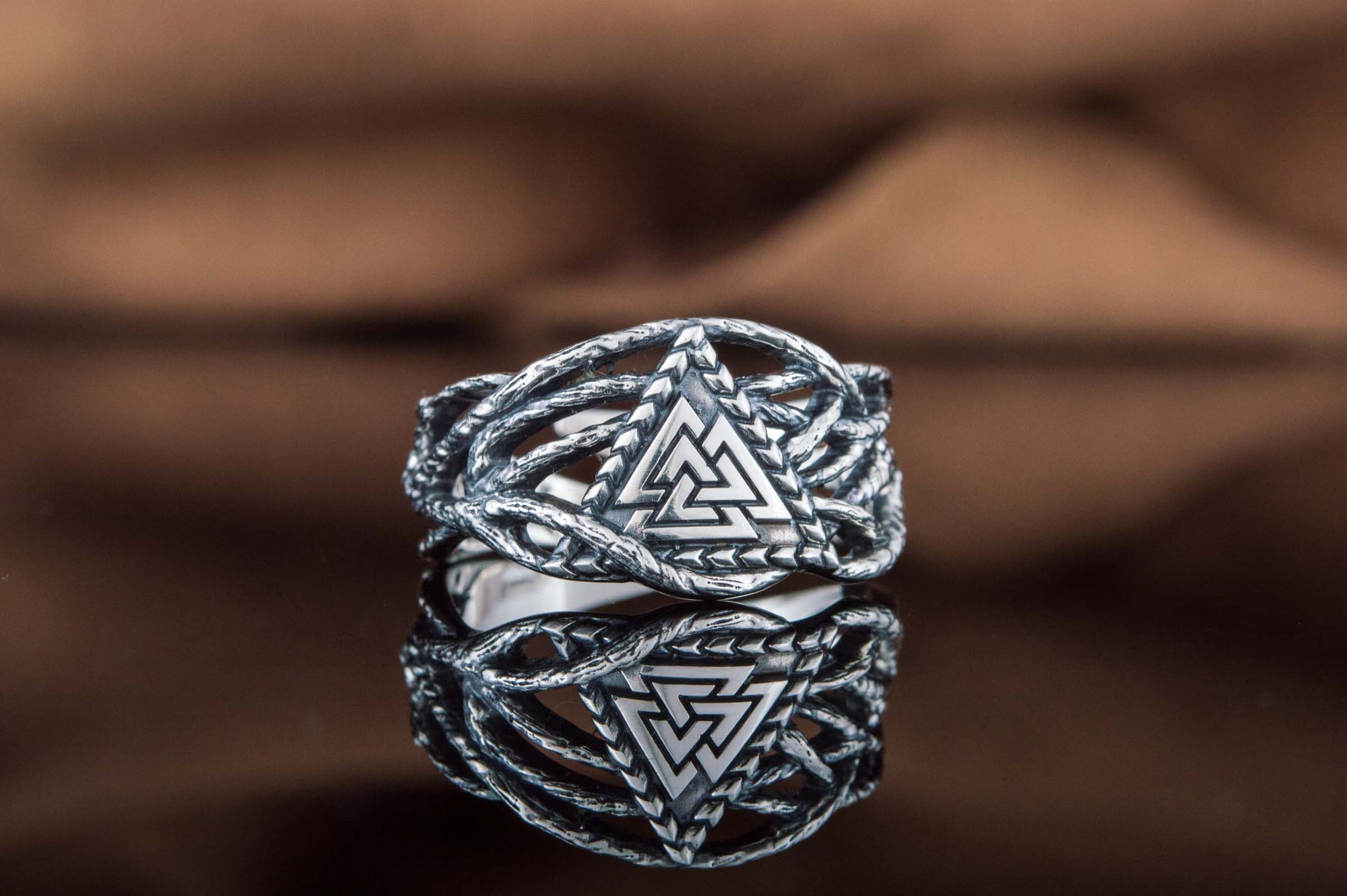 Vikings Valknut and Branches Sterling Silver Ring
