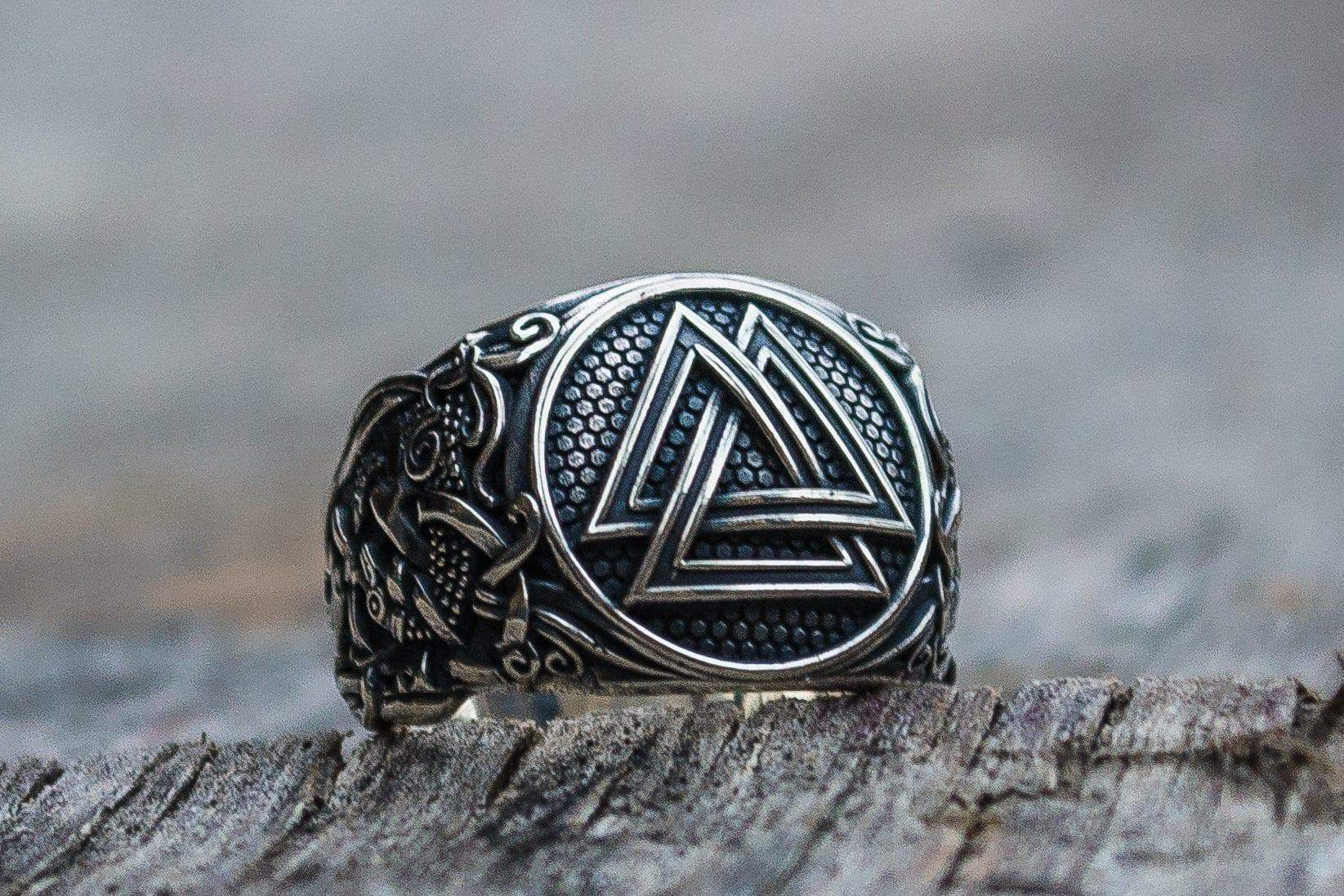 Rings Viking Valknut with Mammen Style Art Handcrafted Ring Ancient Treasures Ancientreasures Viking Odin Thor Mjolnir Celtic Ancient Egypt Norse Norse Mythology