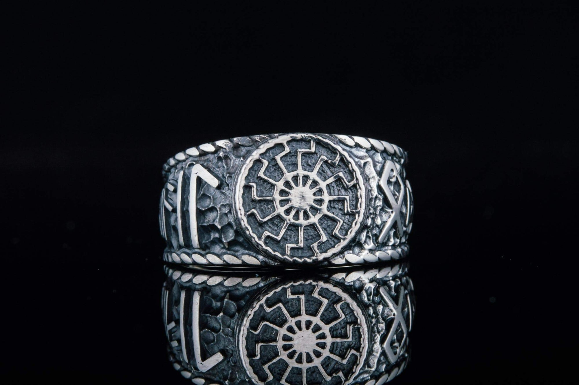 Vikings Black Sun Handcrafted Ring with HAIL ODIN Runes
