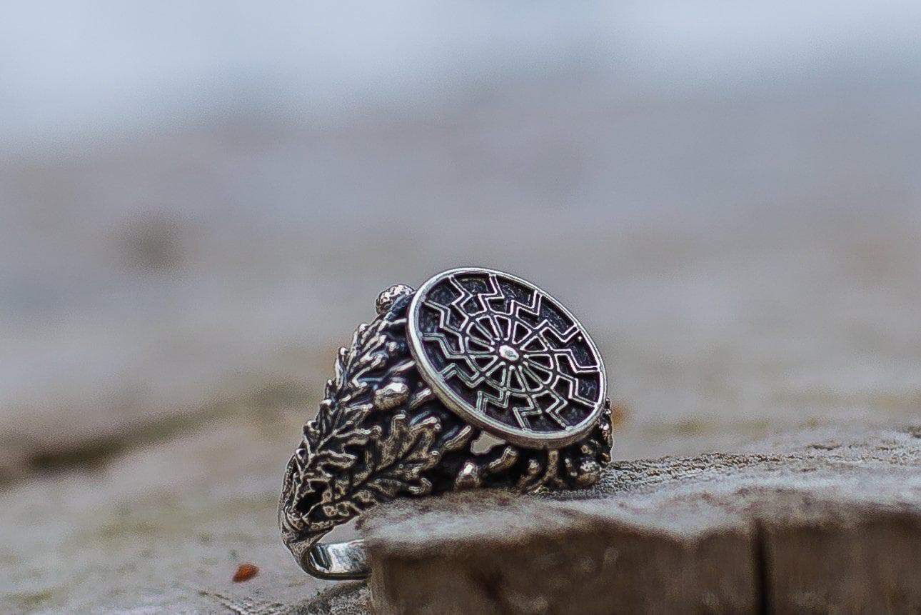 Rings Vikings Black Sun with Oak Leaves & Acorns Hand-Crafted Ring Ancient Treasures Ancientreasures Viking Odin Thor Mjolnir Celtic Ancient Egypt Norse Norse Mythology