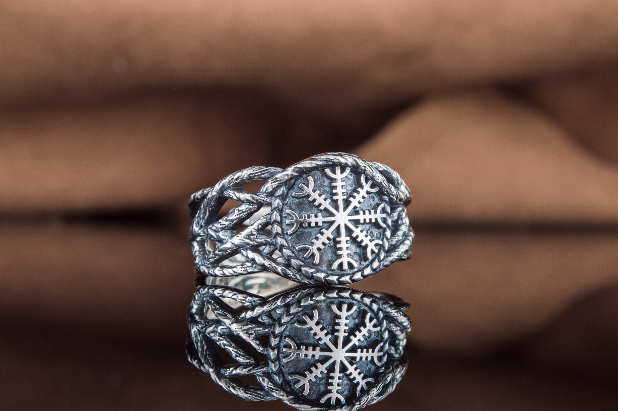 Vikings Helm of Awe and Branches Sterling Silver Ring