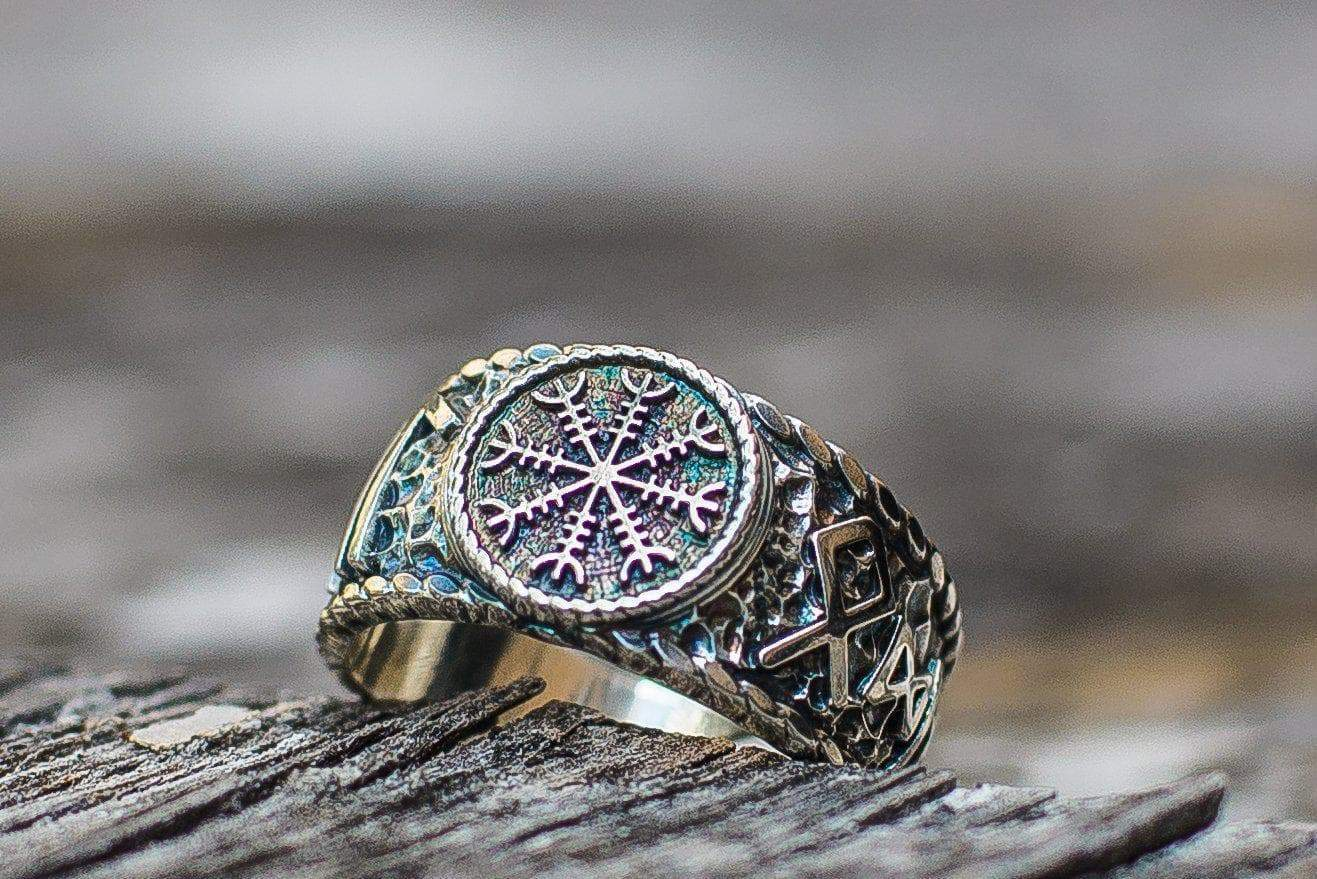 Rings Vikings Helm of Awe Hail Odin Runes Handcrafted Ring Ancient Treasures Ancientreasures Viking Odin Thor Mjolnir Celtic Ancient Egypt Norse Norse Mythology