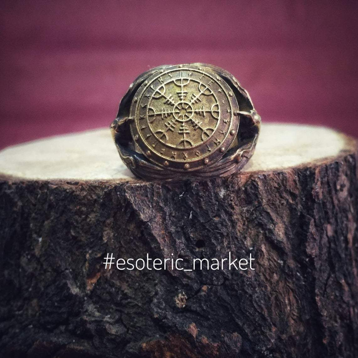 Rings Vikings Helm of Awe in Rune Circle with Ravens Bronze Ring Ancient Treasures Ancientreasures Viking Odin Thor Mjolnir Celtic Ancient Egypt Norse Norse Mythology