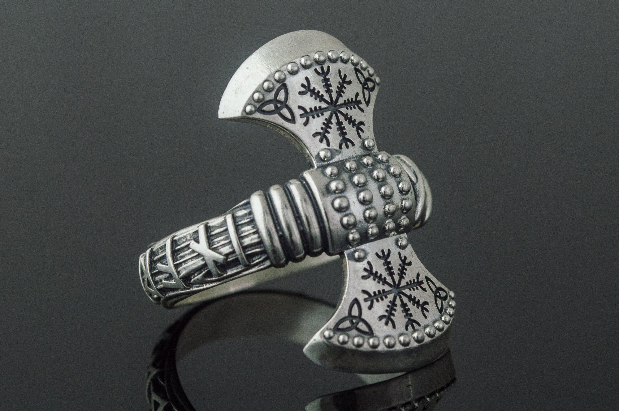 Vikings Helm of Awe Triquetra Axe Sterling Silver Ring