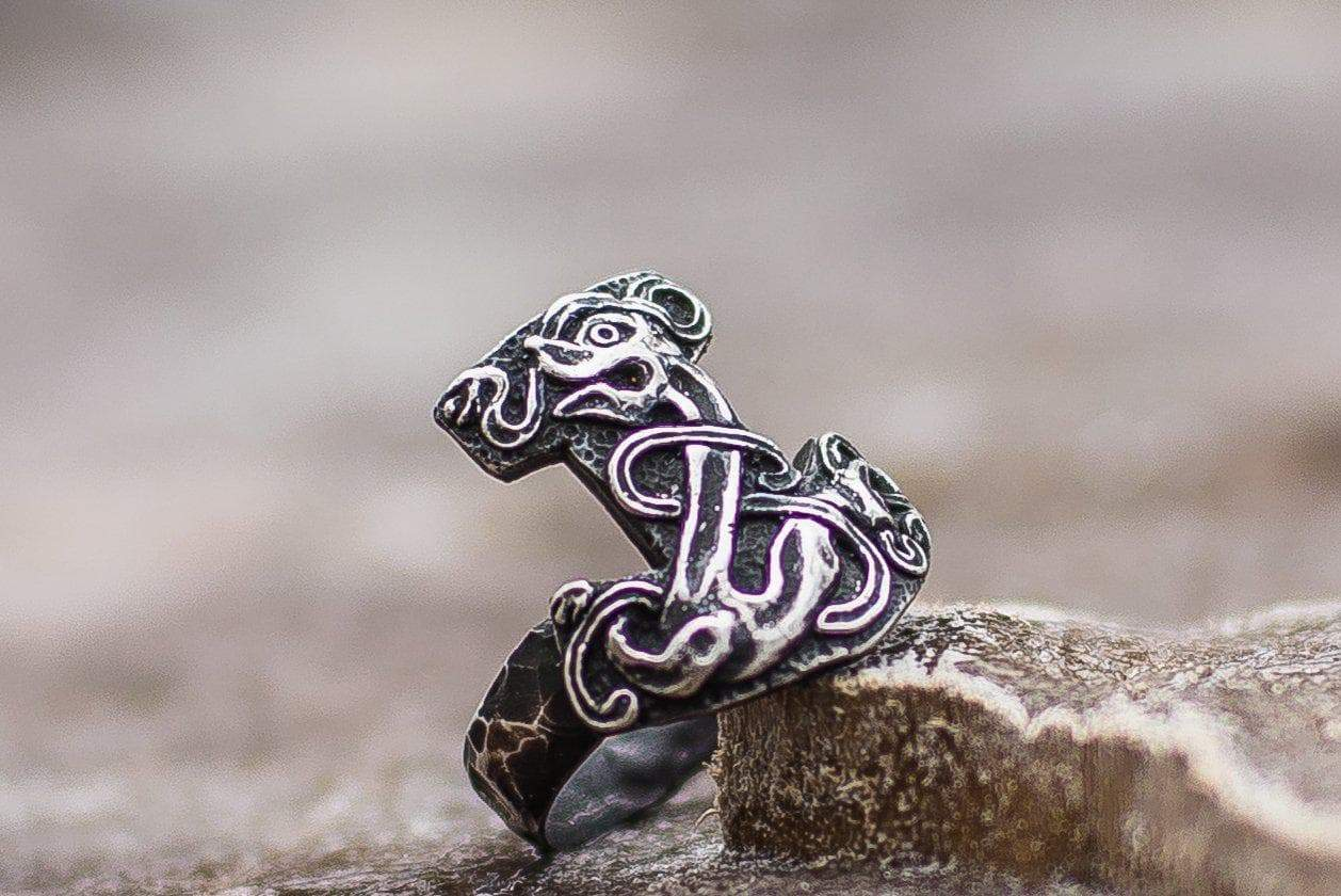 Vikings Mjolnir Sterling Silver Ring with Jelling Style Art