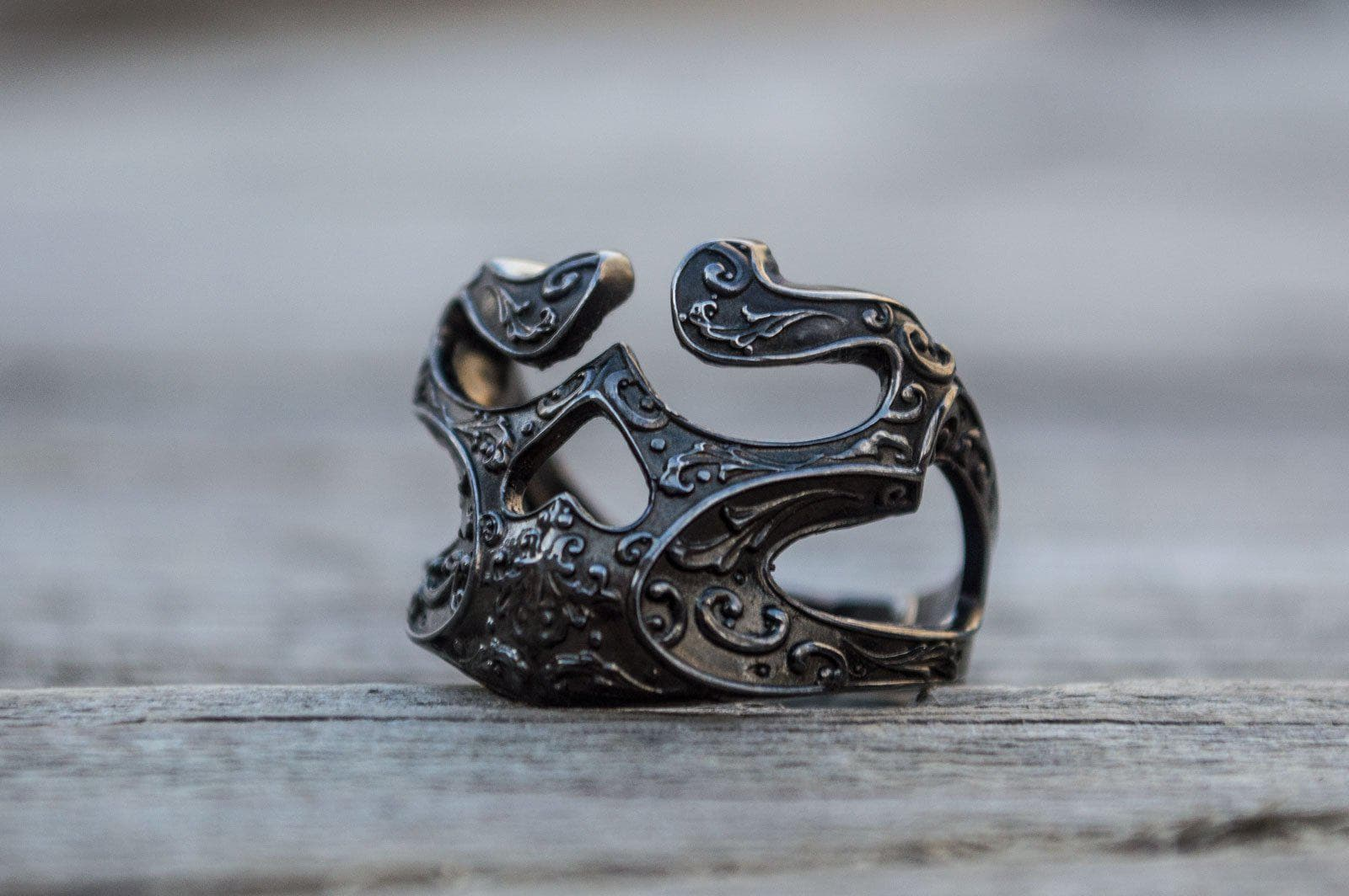 Vikings Norse Skull Sterling Silver Ruthenium Ring with Ornament