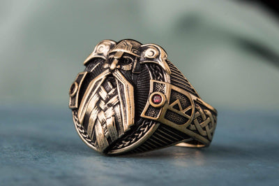 Vikings Odin and his Ravens Handcrafted Ring