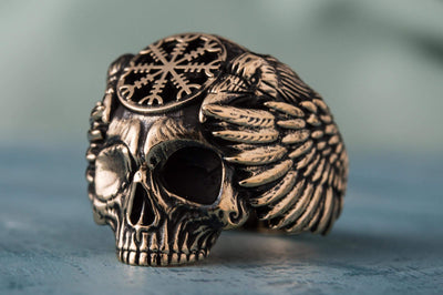 Vikings Odin Skull Unique Bronze Ring with Helm of Awe Symbol