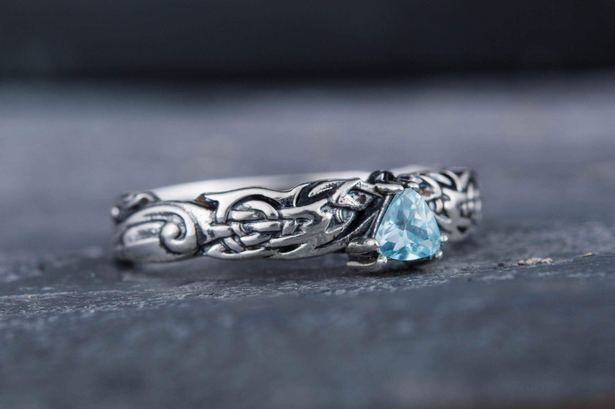 Rings Vikings Ornament Sterling Silver Ring with Blue Cubic Zirconia Ancient Treasures Ancientreasures Viking Odin Thor Mjolnir Celtic Ancient Egypt Norse Norse Mythology