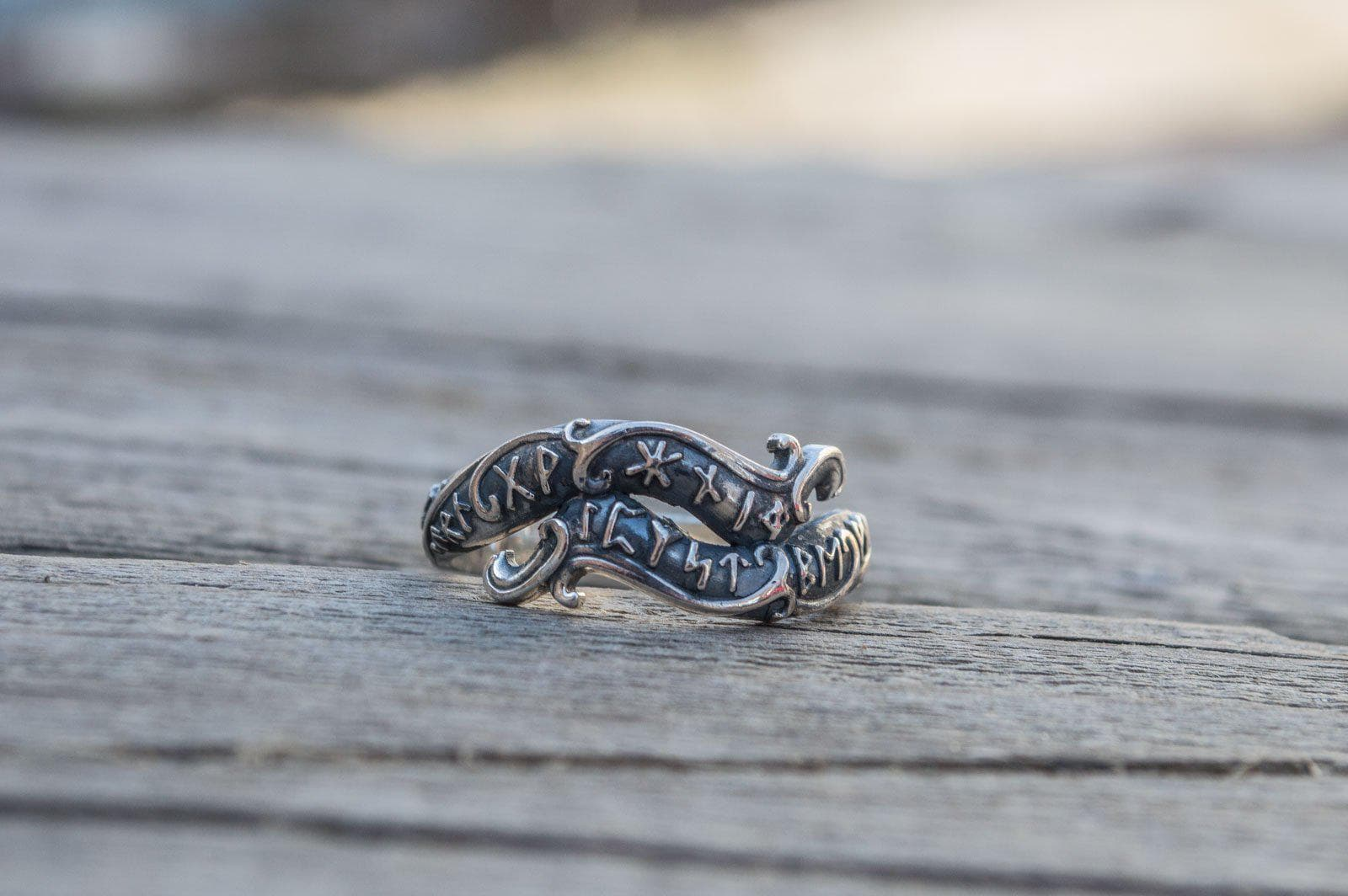 Vikings Ouroboros Ring with Runes Sterling Silver Handmade Ring