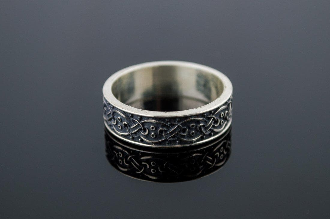 Vikings Sterling Silver Ring with Scandanavian Ornament