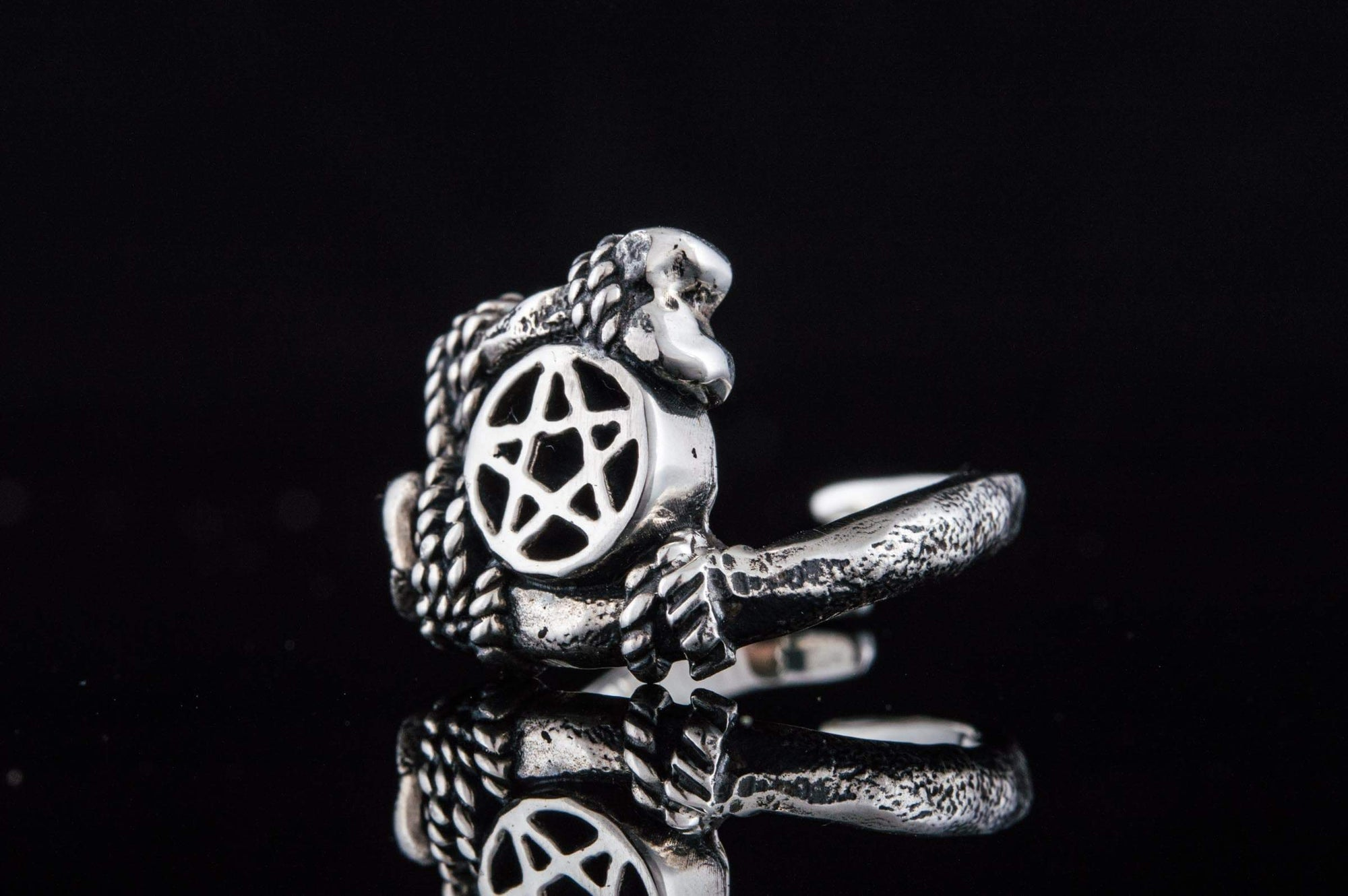 Wiccan Pentacle with Rope & Bones Sterling silver Pendant