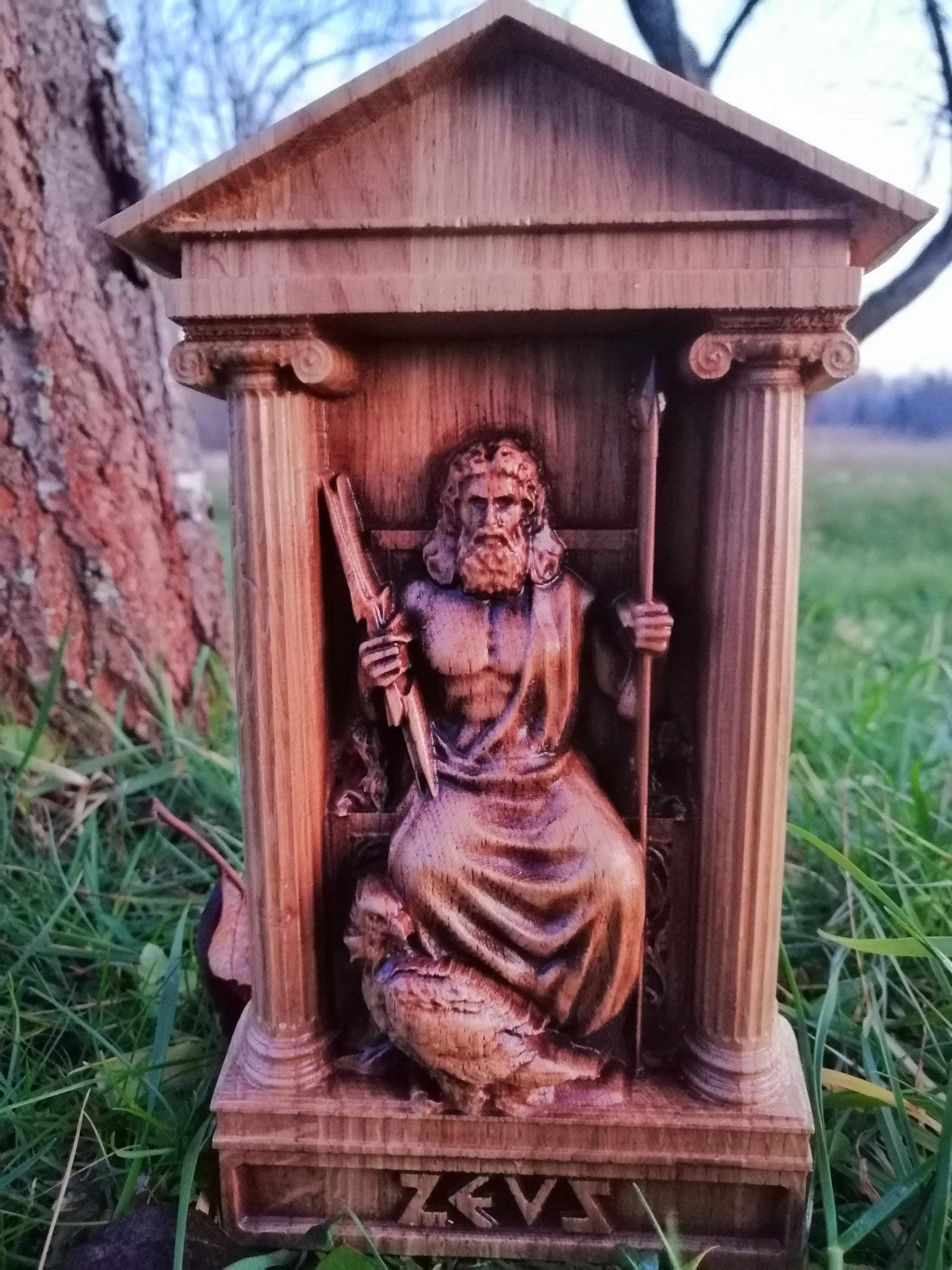 Sculptures & Figurines Ancient Greek God Zeus Handcarved Wood Statue Ancient Treasures Ancientreasures Viking Odin Thor Mjolnir Celtic Ancient Egypt Norse Norse Mythology