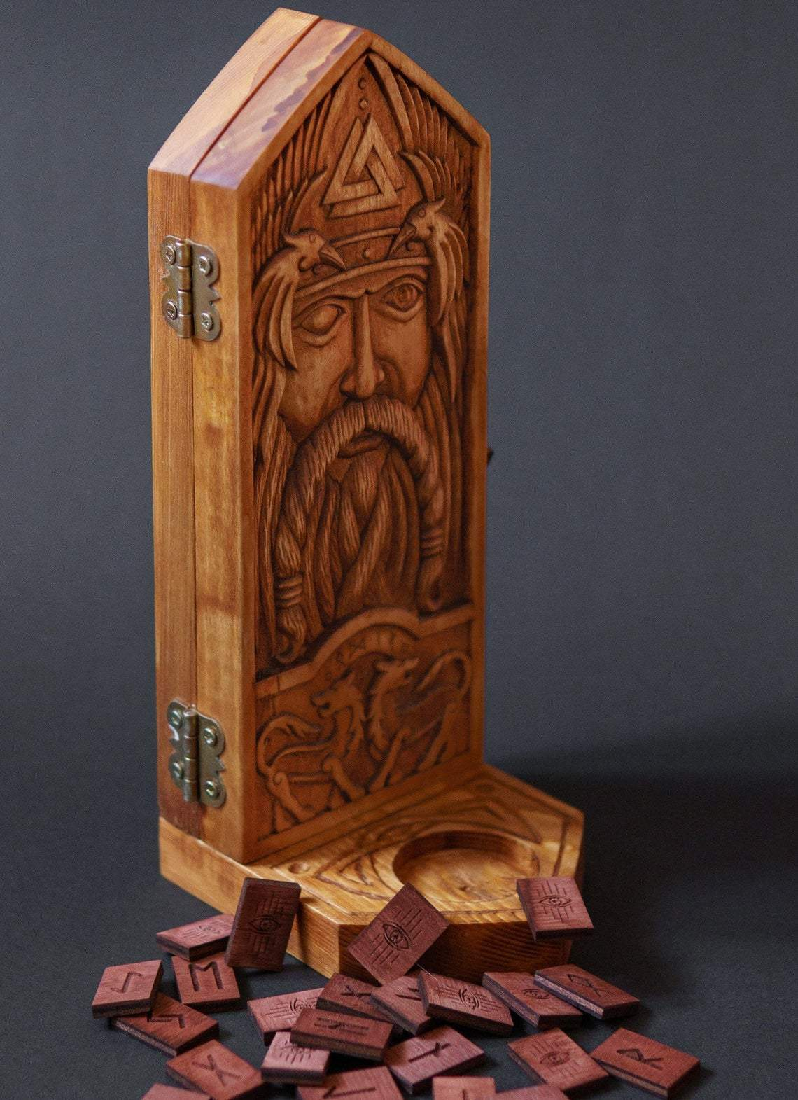 Sculptures & Figurines Viking God Odin Wooden Casket & Candlestick Holder with Wooden Runes Ancient Treasures Ancientreasures Viking Odin Thor Mjolnir Celtic Ancient Egypt Norse Norse Mythology
