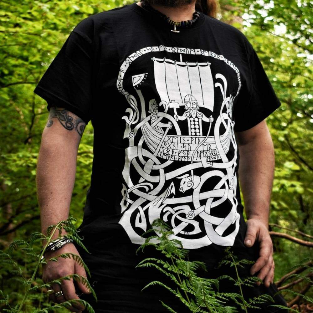 Viking Norse Thor Jörmungandr Fishing Men's T-shirt