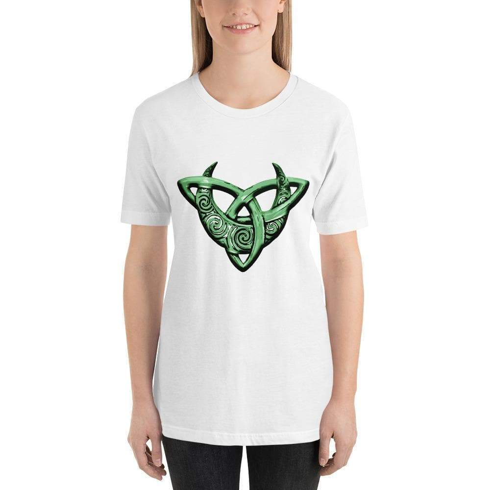 Shirts & Tops White / XS Celtic Moon on Triquetra T-Shirt Ancient Treasures Ancientreasures Viking Odin Thor Mjolnir Celtic Ancient Egypt Norse Norse Mythology